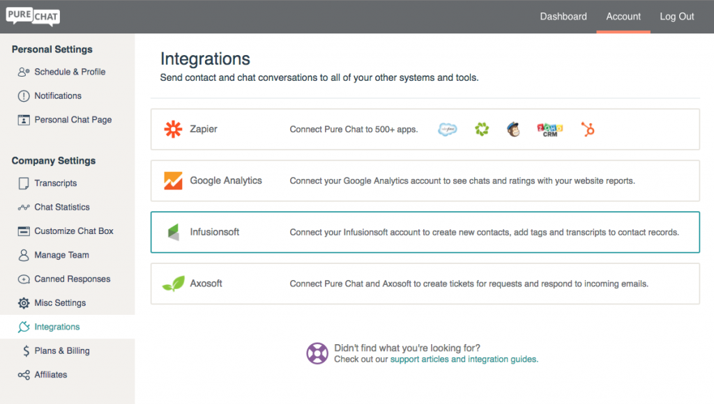 Infusionsoft Integration for Pure Chat