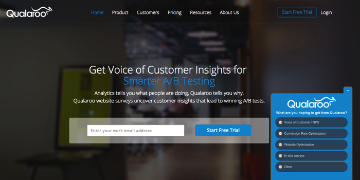 qualaroo voice of the customer